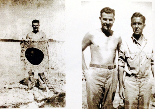 Left: Cpl. John Steve Moses holds a captured Japanese battle flag. Right: Making friends with the Aussies, likely in New Guinea.