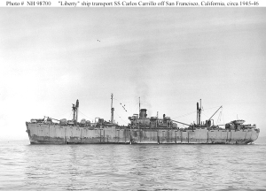 The ship in 1944 was not old, but it did look the part. The S.S. Carlos Carillo, at least among my Dad's bunch,  won the 43rd Cavalry Recon Troop's vote for least favorite troop ship. U.S. NAVY PHOTO/SAN FRANCISCO BAY